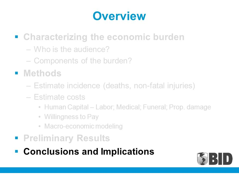 Overview Characterizing the economic burden –Who is the audience.