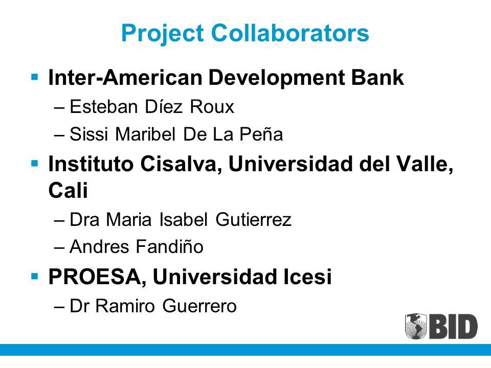 Inter-American Development Bank –Esteban Díez Roux –Sissi Maribel De La Peña Instituto Cisalva, Universidad del Valle, Cali –Dra Maria Isabel Gutierre