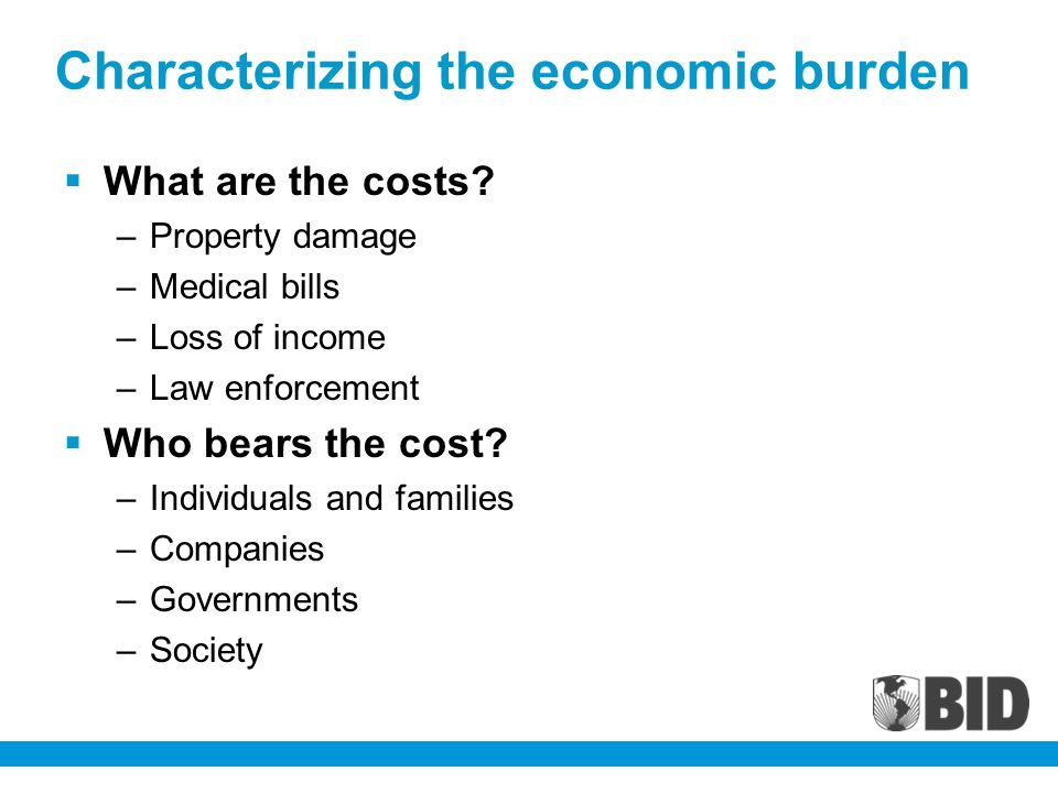 Characterizing the economic burden What are the costs.