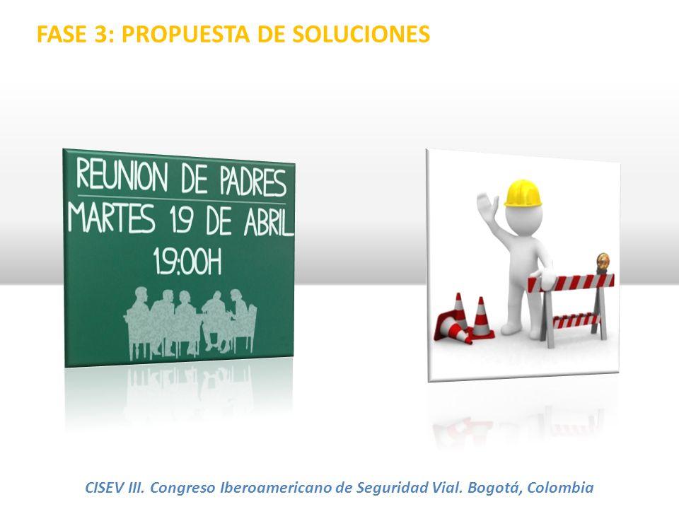 FASE 3: PROPUESTA DE SOLUCIONES CISEV III. Congreso Iberoamericano de Seguridad Vial. Bogotá, Colombia