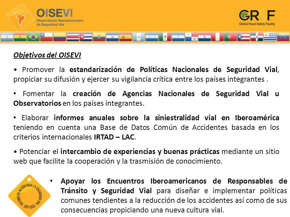 Objetivos del OISEVI Promover la estandarización de Políticas Nacionales de Seguridad Vial, propiciar su difusión y ejercer su vigilancia crítica entr