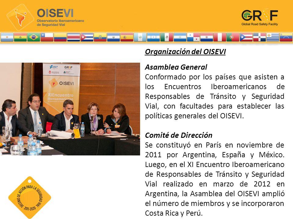 Organización del OISEVI Asamblea General Conformado por los países que asisten a los Encuentros Iberoamericanos de Responsables de Tránsito y Segurida
