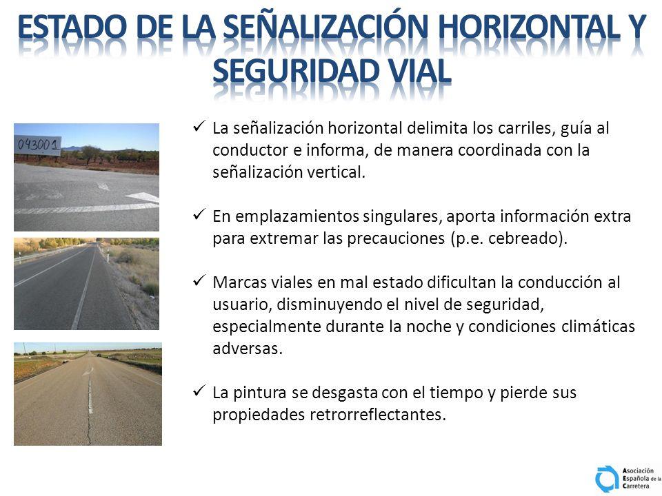 La señalización horizontal delimita los carriles, guía al conductor e informa, de manera coordinada con la señalización vertical. En emplazamientos si