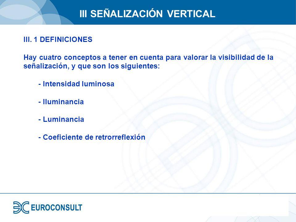 III SEÑALIZACIÓN VERTICAL III. 1 DEFINICIONES Hay cuatro conceptos a tener en cuenta para valorar la visibilidad de la señalización, y que son los sig