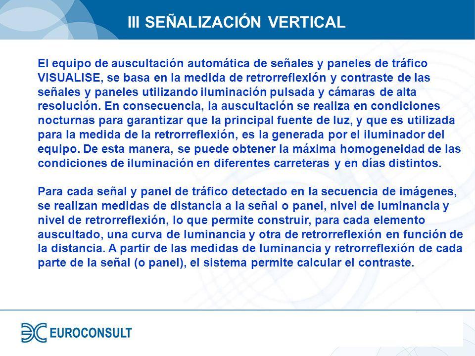 III SEÑALIZACIÓN VERTICAL El equipo de auscultación automática de señales y paneles de tráfico VISUALISE, se basa en la medida de retrorreflexión y co
