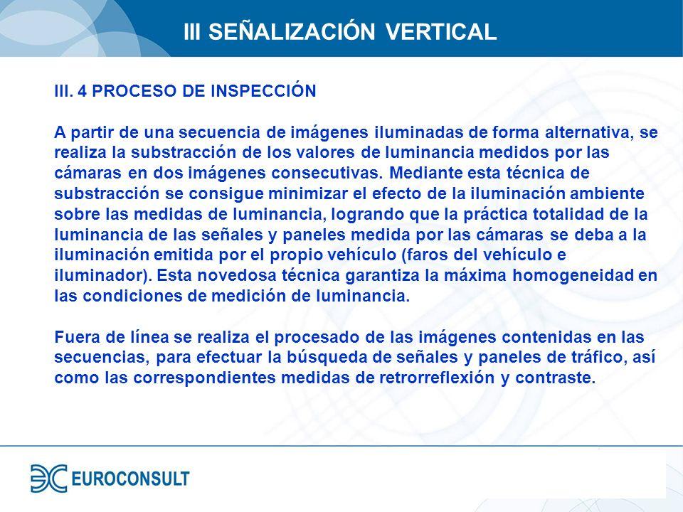 III SEÑALIZACIÓN VERTICAL III. 4 PROCESO DE INSPECCIÓN A partir de una secuencia de imágenes iluminadas de forma alternativa, se realiza la substracci