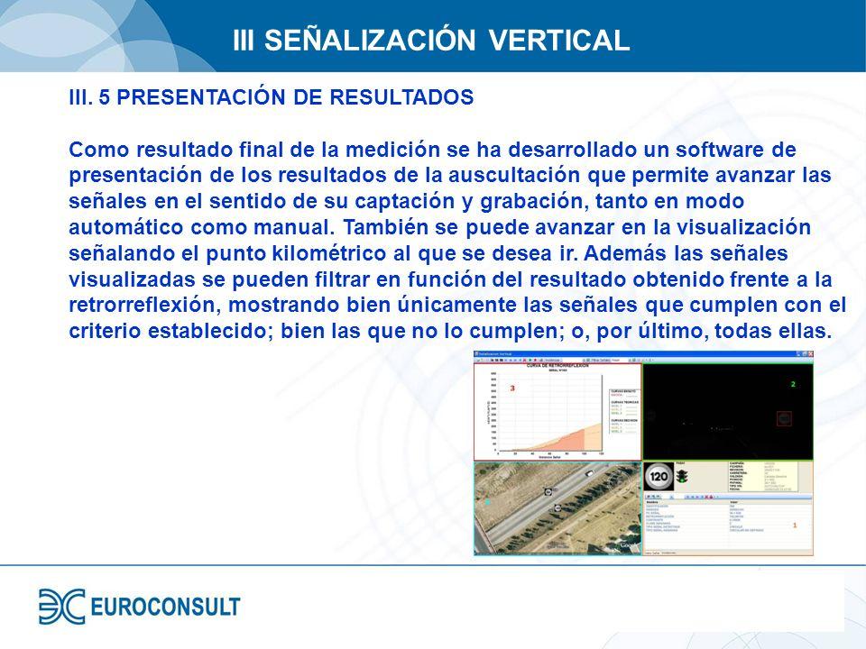 III SEÑALIZACIÓN VERTICAL III. 5 PRESENTACIÓN DE RESULTADOS Como resultado final de la medición se ha desarrollado un software de presentación de los
