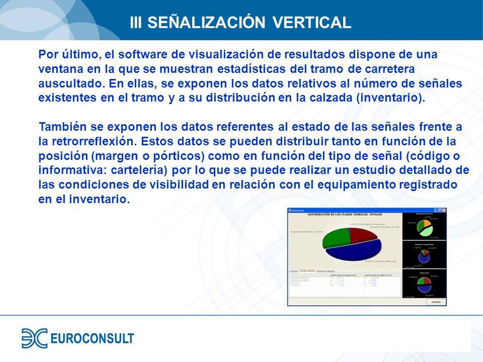 III SEÑALIZACIÓN VERTICAL Por último, el software de visualización de resultados dispone de una ventana en la que se muestran estadísticas del tramo d