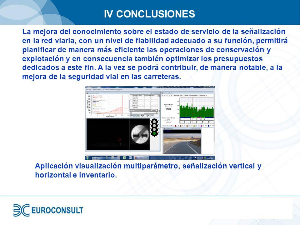 IV CONCLUSIONES La mejora del conocimiento sobre el estado de servicio de la señalización en la red viaria, con un nivel de fiabilidad adecuado a su f