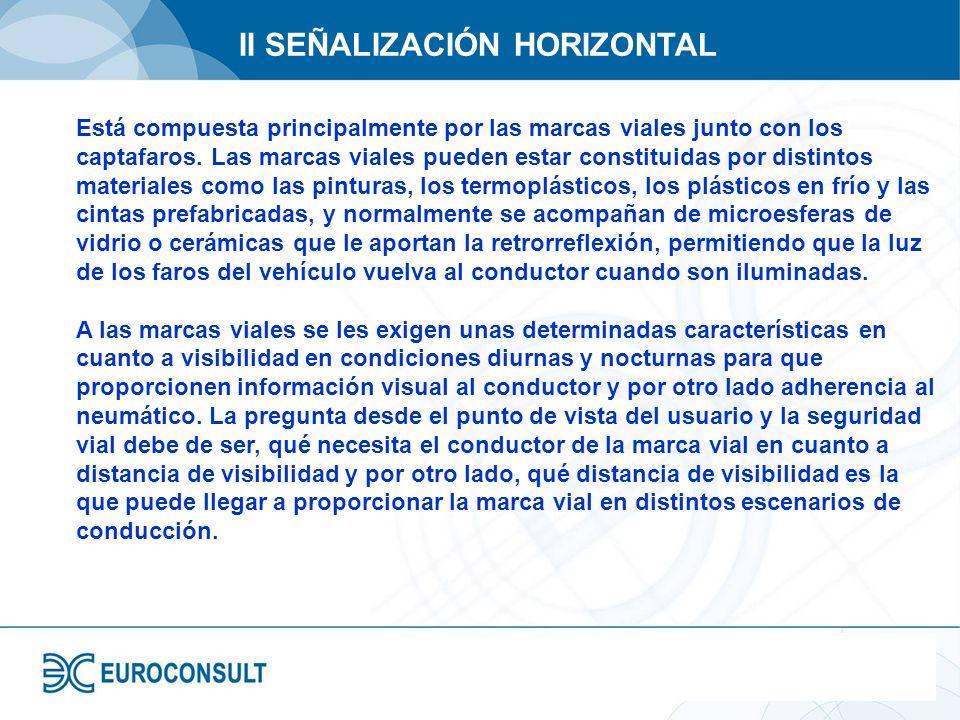 II SEÑALIZACIÓN HORIZONTAL Está compuesta principalmente por las marcas viales junto con los captafaros. Las marcas viales pueden estar constituidas p