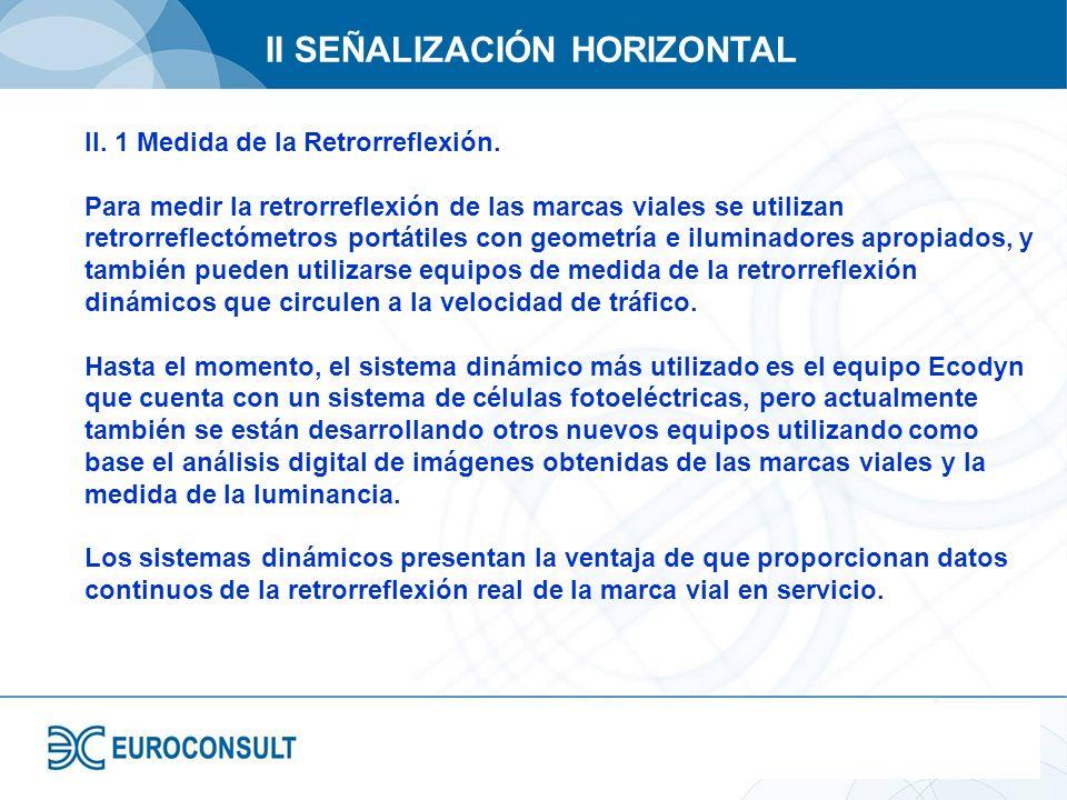 II SEÑALIZACIÓN HORIZONTAL II. 1 Medida de la Retrorreflexión. Para medir la retrorreflexión de las marcas viales se utilizan retrorreflectómetros por