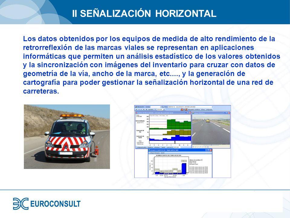 II SEÑALIZACIÓN HORIZONTAL Los datos obtenidos por los equipos de medida de alto rendimiento de la retrorreflexión de las marcas viales se representan