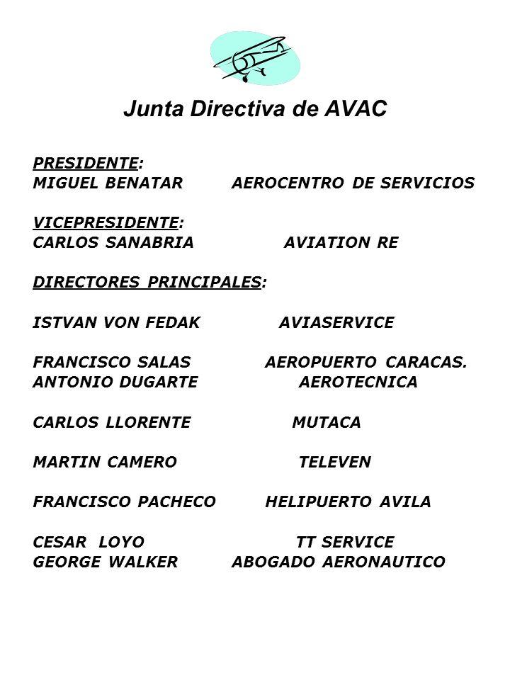 Junta Directiva de AVAC PRESIDENTE: MIGUEL BENATAR AEROCENTRO DE SERVICIOS VICEPRESIDENTE: CARLOS SANABRIA AVIATION RE DIRECTORES PRINCIPALES: ISTVAN