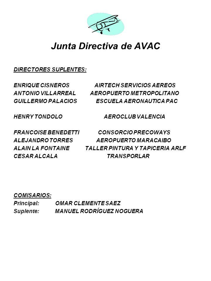Junta Directiva de AVAC DIRECTORES SUPLENTES: ENRIQUE CISNEROS AIRTECH SERVICIOS AEREOS ANTONIO VILLARREAL AEROPUERTO METROPOLITANO GUILLERMO PALACIOS