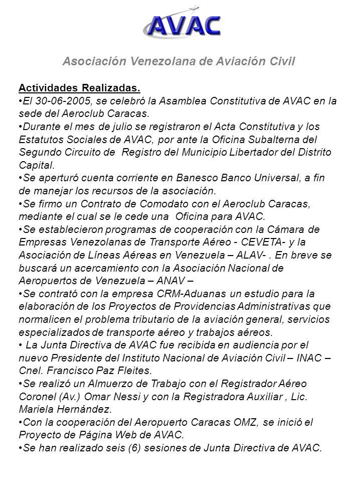 Asociación Venezolana de Aviación Civil Actividades Realizadas. El 30-06-2005, se celebró la Asamblea Constitutiva de AVAC en la sede del Aeroclub Car
