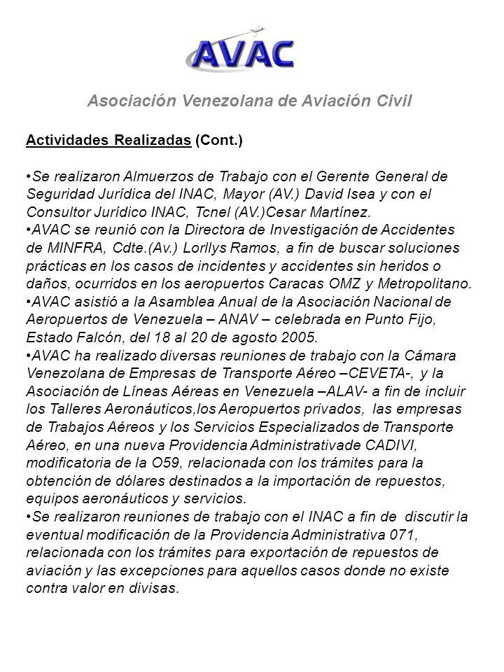 Asociación Venezolana de Aviación Civil Actividades Realizadas (Cont.) Se realizaron Almuerzos de Trabajo con el Gerente General de Seguridad Jurídica