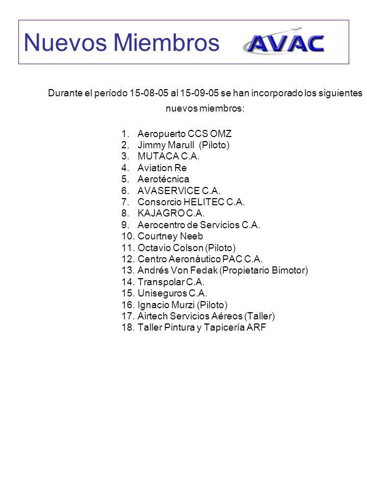 Nuevos Miembros Durante el período 15-08-05 al 15-09-05 se han incorporado los siguientes nuevos miembros: 1.Aeropuerto CCS OMZ 2.Jimmy Marull (Piloto