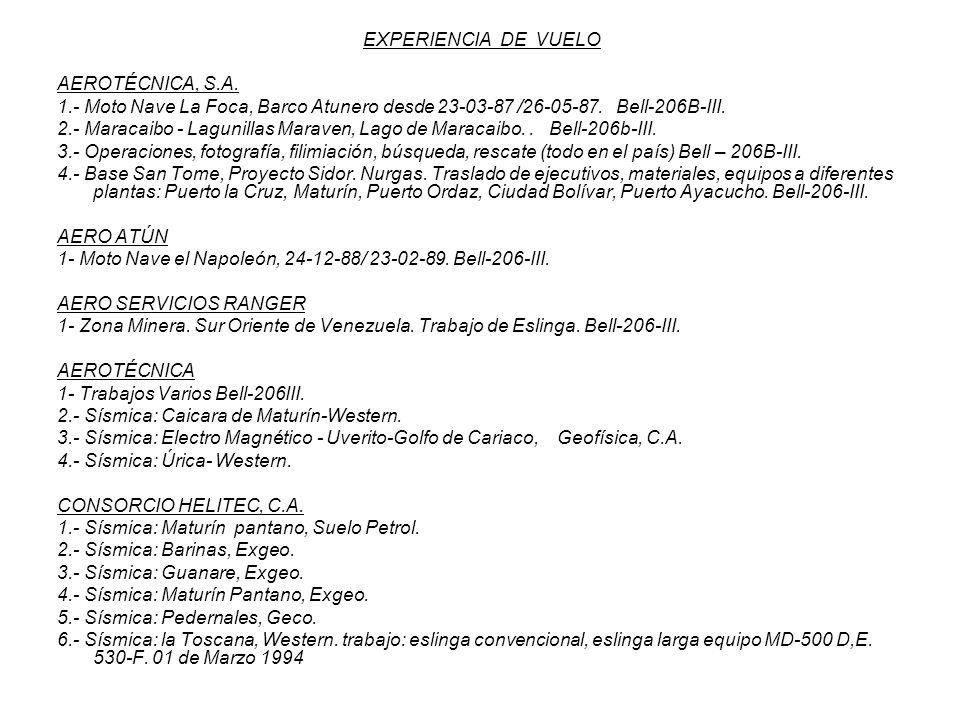 EXPERIENCIA DE VUELO AEROTÉCNICA, S.A. 1.- Moto Nave La Foca, Barco Atunero desde 23-03-87 /26-05-87. Bell-206B-III. 2.- Maracaibo - Lagunillas Marave
