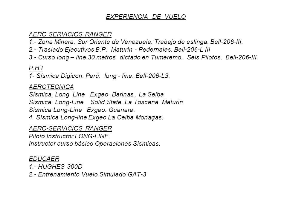EXPERIENCIA DE VUELO AERO SERVICIOS RANGER 1.- Zona Minera. Sur Oriente de Venezuela. Trabajo de eslinga. Bell-206-III. 2.- Traslado Ejecutivos B.P. M