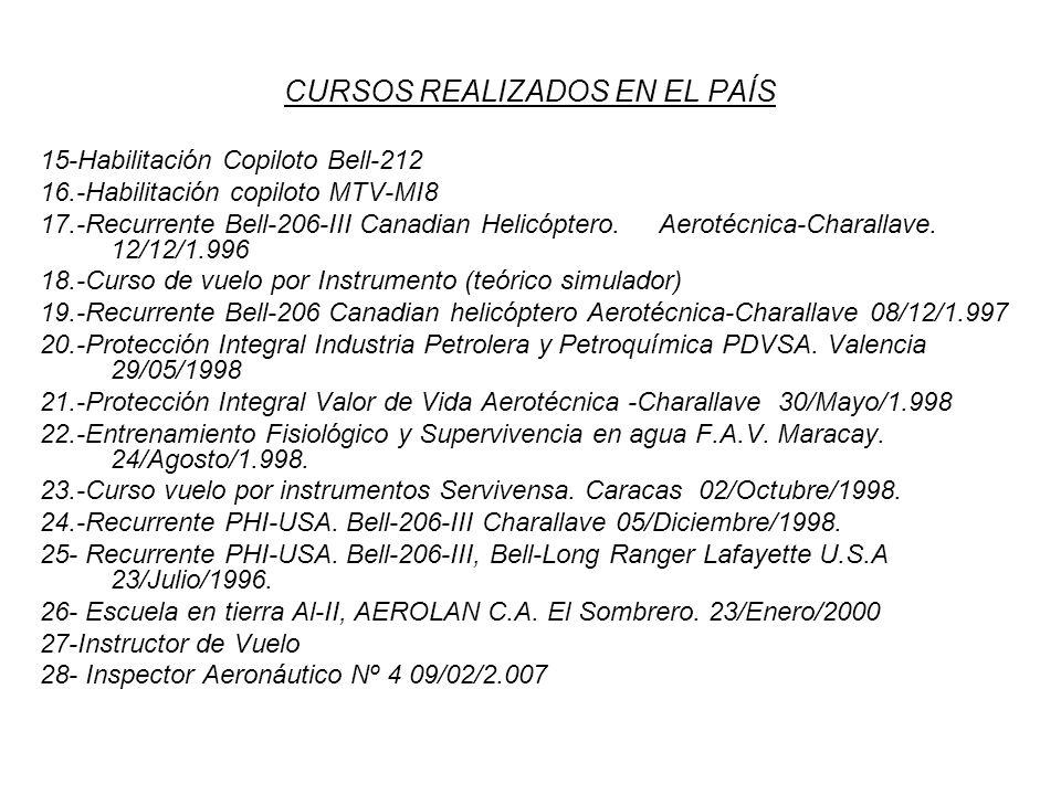 CURSOS REALIZADOS EN EL PAÍS 15-Habilitación Copiloto Bell-212 16.-Habilitación copiloto MTV-MI8 17.-Recurrente Bell-206-III Canadian Helicóptero. Aer