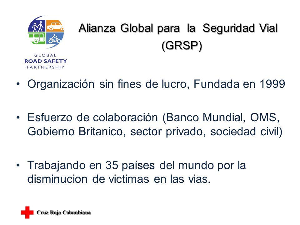 Alianza Global para la Seguridad Vial (GRSP) (GRSP) Organización sin fines de lucro, Fundada en 1999 Esfuerzo de colaboración (Banco Mundial, OMS, Gobierno Britanico, sector privado, sociedad civil) Trabajando en 35 países del mundo por la disminucion de victimas en las vias.
