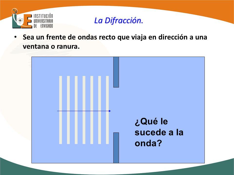 La Difracción. Sea un frente de ondas recto que viaja en dirección a una ventana o ranura. ¿Qué le sucede a la onda?