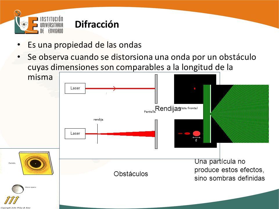Difracción Es una propiedad de las ondas Se observa cuando se distorsiona una onda por un obstáculo cuyas dimensiones son comparables a la longitud de