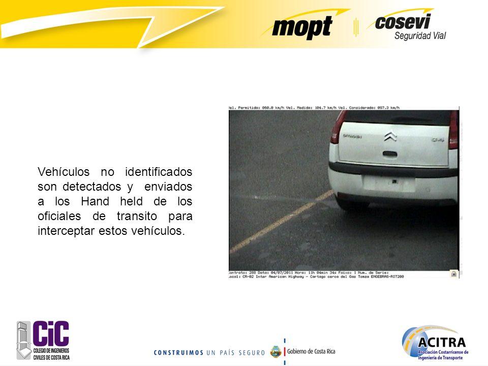 Vehículos no identificados son detectados y enviados a los Hand held de los oficiales de transito para interceptar estos vehículos.