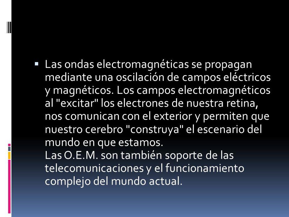 Las ondas electromagnéticas se propagan mediante una oscilación de campos eléctricos y magnéticos. Los campos electromagnéticos al