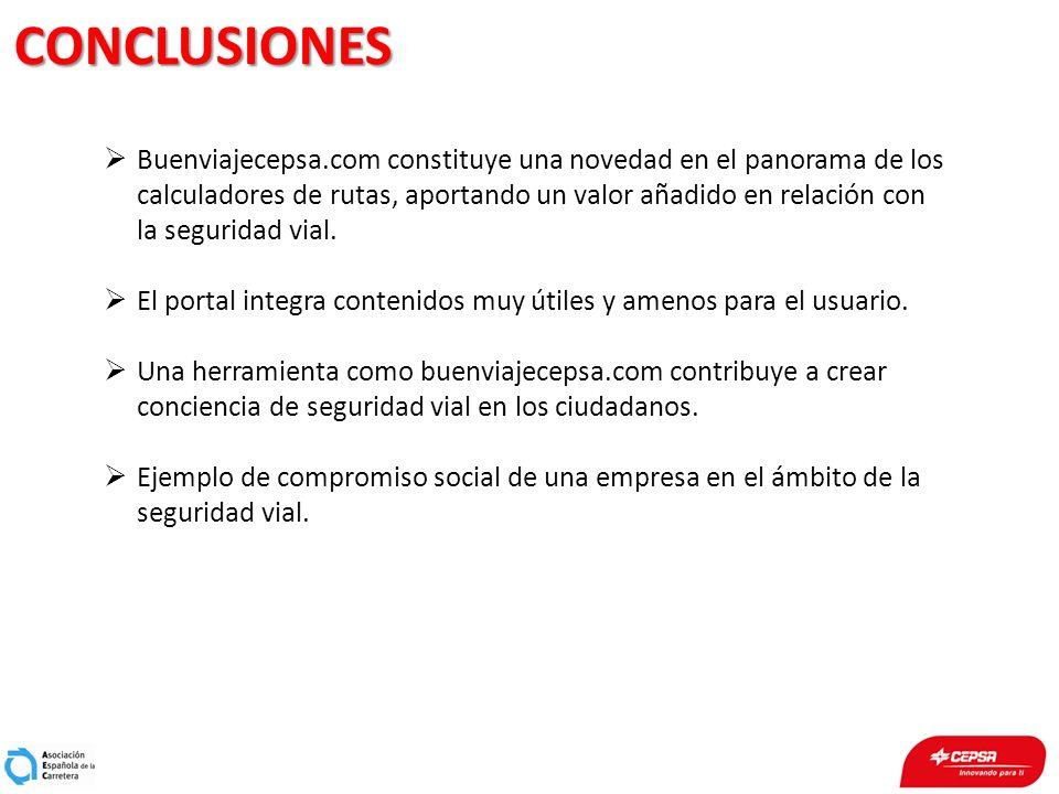 CONCLUSIONES Buenviajecepsa.com constituye una novedad en el panorama de los calculadores de rutas, aportando un valor añadido en relación con la segu