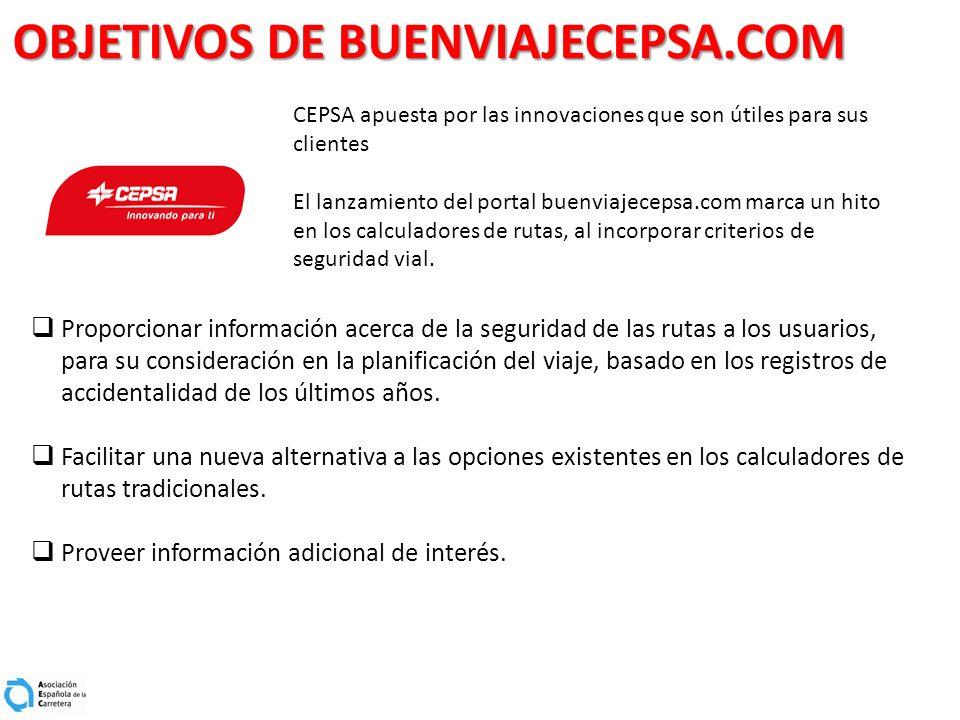 OBJETIVOS DE BUENVIAJECEPSA.COM CEPSA apuesta por las innovaciones que son útiles para sus clientes El lanzamiento del portal buenviajecepsa.com marca