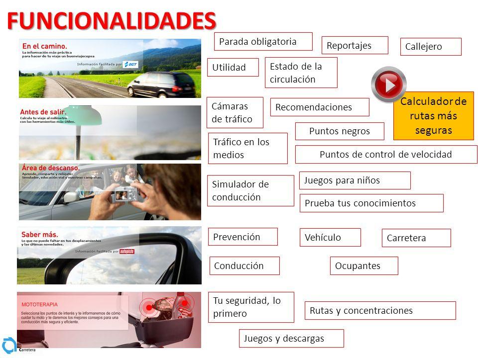 FUNCIONALIDADES Parada obligatoria Utilidad Reportajes Calculador de rutas más seguras Callejero Estado de la circulación Cámaras de tráfico Recomenda