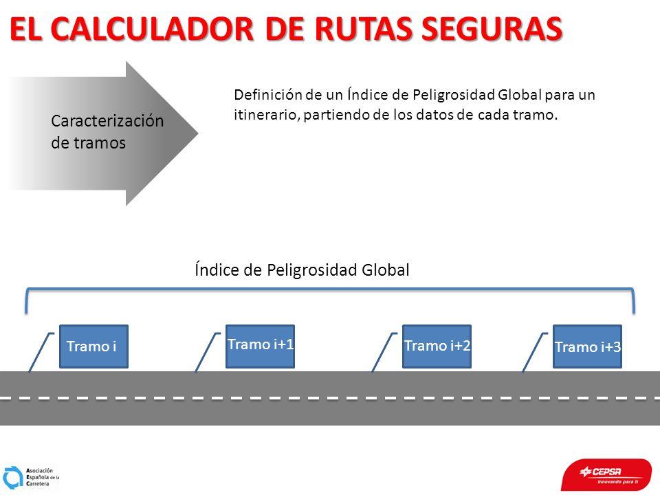 EL CALCULADOR DE RUTAS SEGURAS Caracterización de tramos Definición de un Índice de Peligrosidad Global para un itinerario, partiendo de los datos de