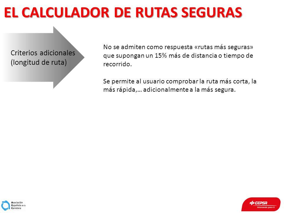EL CALCULADOR DE RUTAS SEGURAS Criterios adicionales (longitud de ruta) No se admiten como respuesta «rutas más seguras» que supongan un 15% más de di