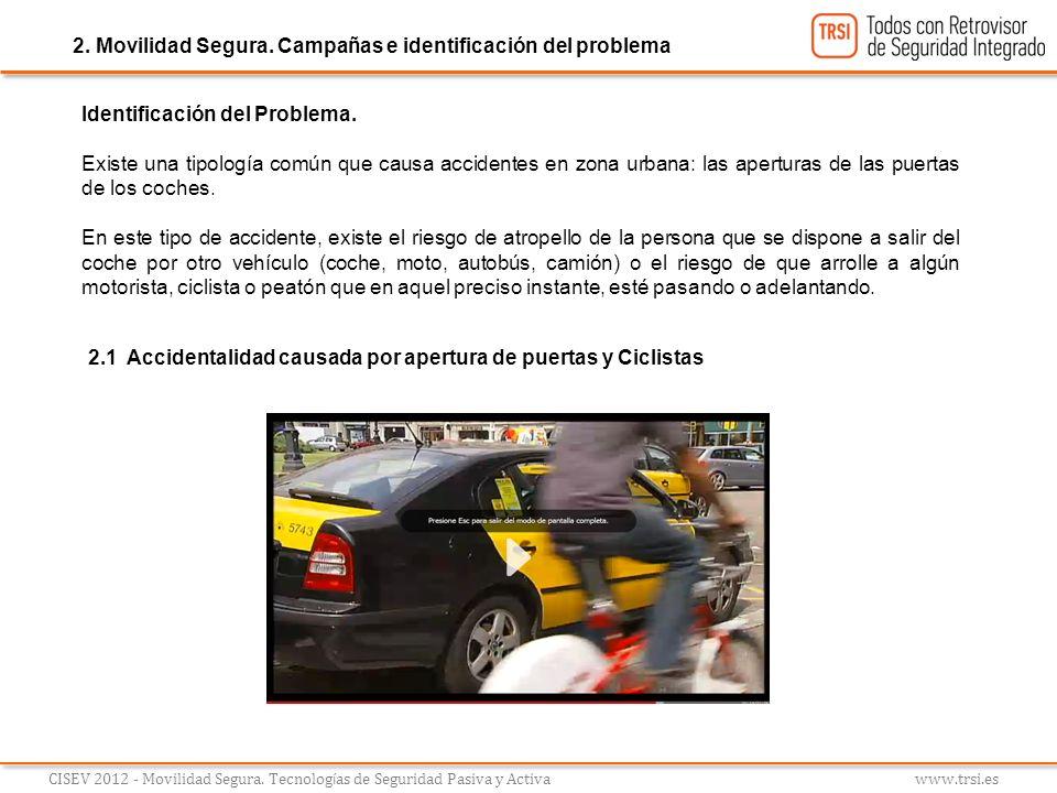 Identificación del Problema. Existe una tipología común que causa accidentes en zona urbana: las aperturas de las puertas de los coches. En este tipo