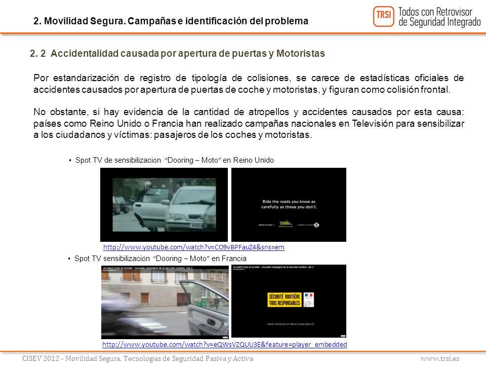 2. 2 Accidentalidad causada por apertura de puertas y Motoristas Por estandarización de registro de tipología de colisiones, se carece de estadísticas