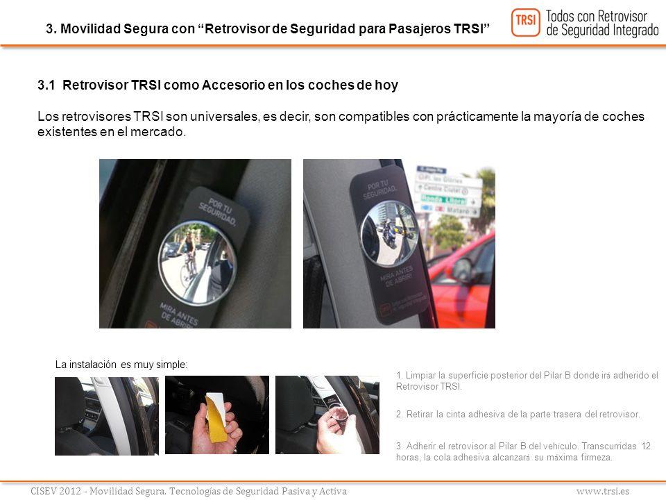 CISEV 2012 - Movilidad Segura. Tecnolog í as de Seguridad Pasiva y Activa www.trsi.es 3. Movilidad Segura con Retrovisor de Seguridad para Pasajeros T