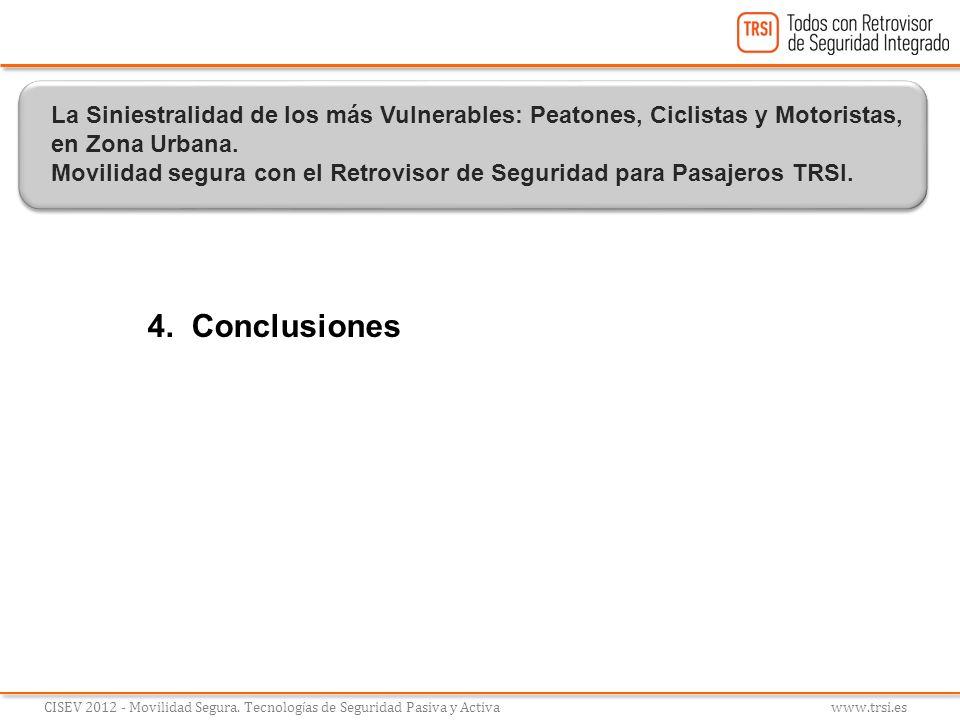 4. Conclusiones CISEV 2012 - Movilidad Segura. Tecnolog í as de Seguridad Pasiva y Activa www.trsi.es La Siniestralidad de los más Vulnerables: Peaton