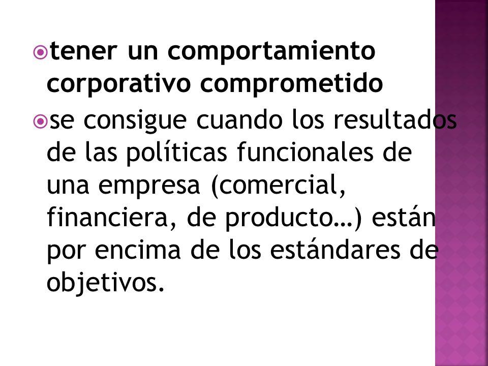tener un comportamiento corporativo comprometido se consigue cuando los resultados de las políticas funcionales de una empresa (comercial, financiera,