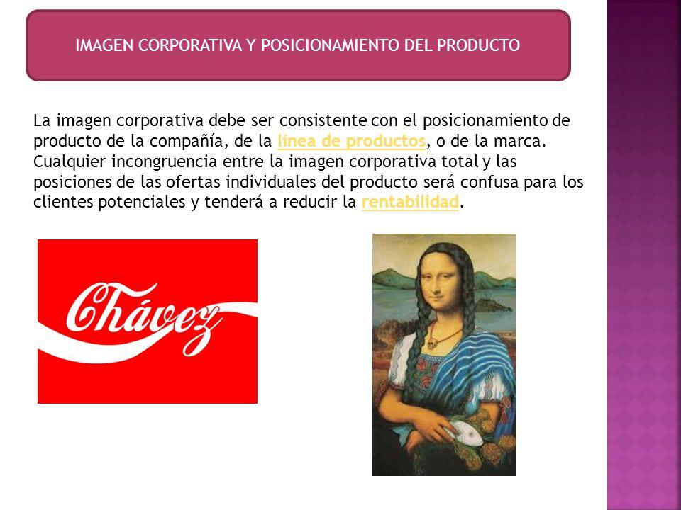 IMAGEN CORPORATIVA Y POSICIONAMIENTO DEL PRODUCTO La imagen corporativa debe ser consistente con el posicionamiento de producto de la compañía, de la