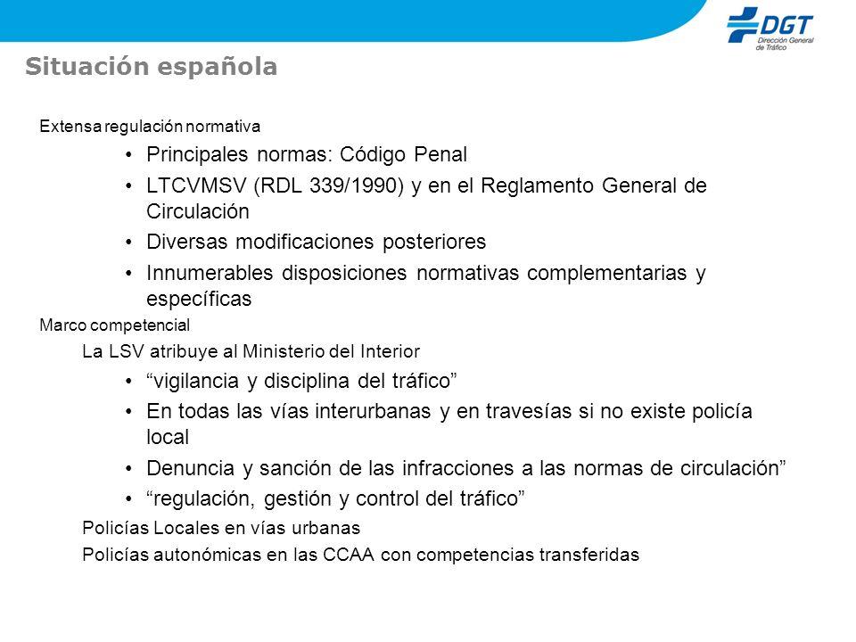 Situación española Extensa regulación normativa Principales normas: Código Penal LTCVMSV (RDL 339/1990) y en el Reglamento General de Circulación Dive