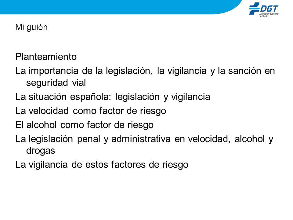 Mi guión Planteamiento La importancia de la legislación, la vigilancia y la sanción en seguridad vial La situación española: legislación y vigilancia