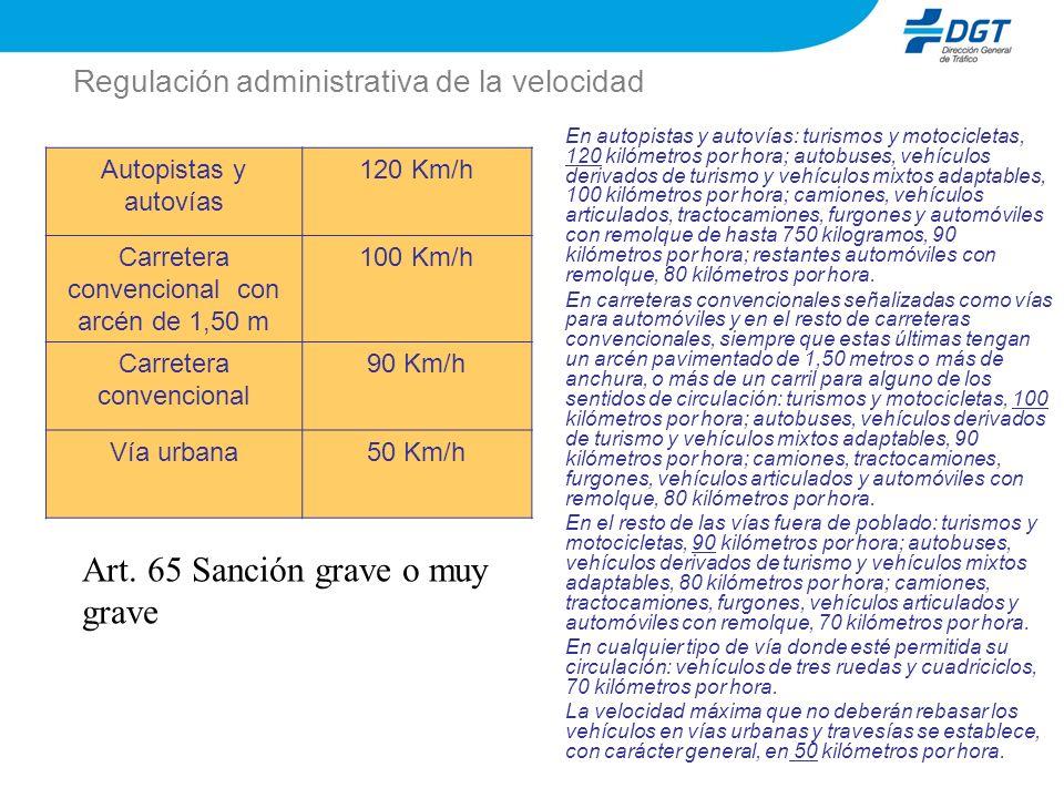 Regulación administrativa de la velocidad Autopistas y autovías 120 Km/h Carretera convencional con arcén de 1,50 m 100 Km/h Carretera convencional 90
