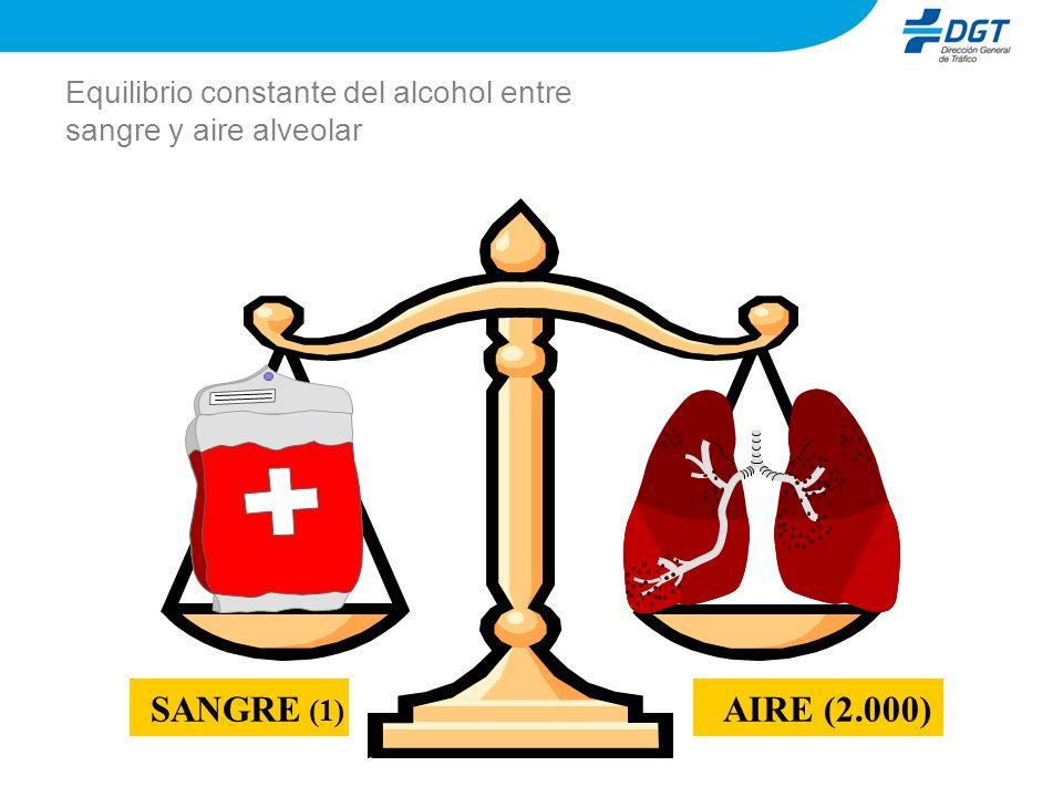 Equilibrio constante del alcohol entre sangre y aire alveolar AIRE(2.000)SANGRE (1)