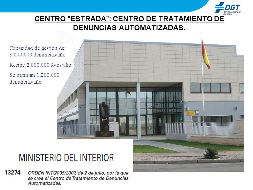 CENTRO ESTRADA: CENTRO DE TRATAMIENTO DE DENUNCIAS AUTOMATIZADAS. Capacidad de gestión de 8.000.000 denuncias/año Recibe 2.000.000 fotos/año Se tramit
