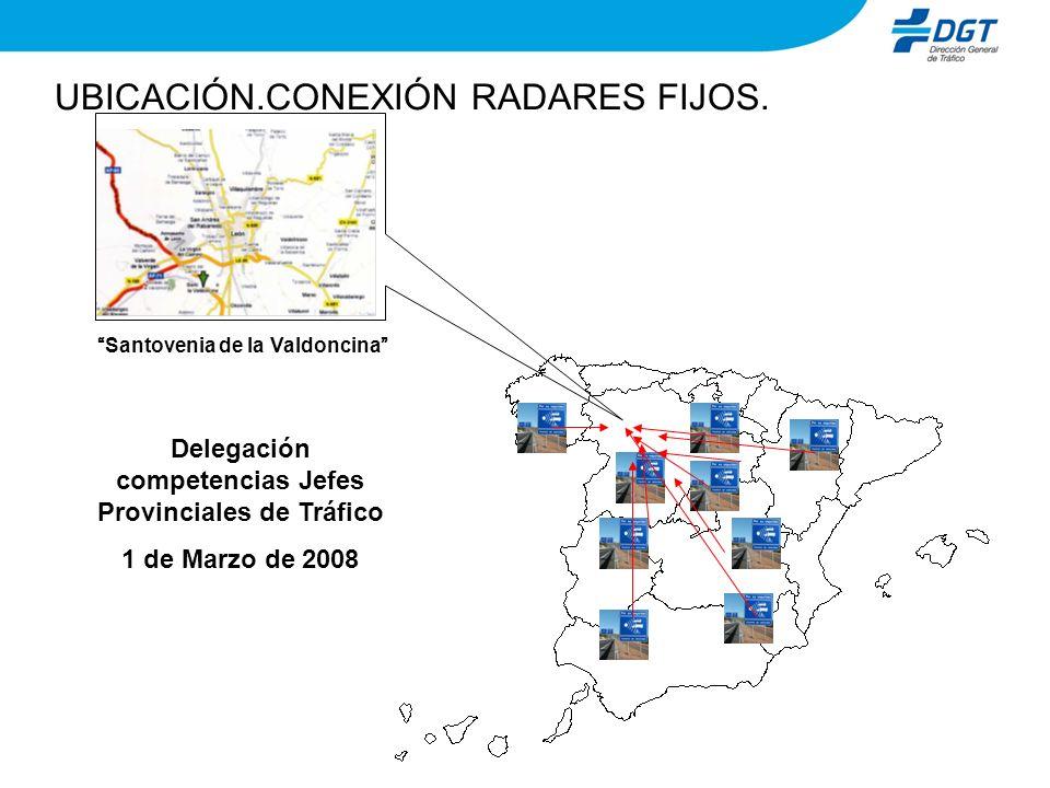UBICACIÓN.CONEXIÓN RADARES FIJOS. Delegación competencias Jefes Provinciales de Tráfico 1 de Marzo de 2008 Santovenia de la Valdoncina