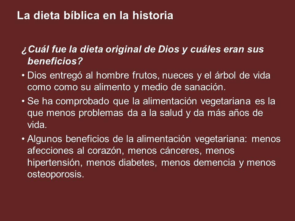 La dieta bíblica en la historia ¿Cuál fue la dieta original de Dios y cuáles eran sus beneficios? Dios entregó al hombre frutos, nueces y el árbol de