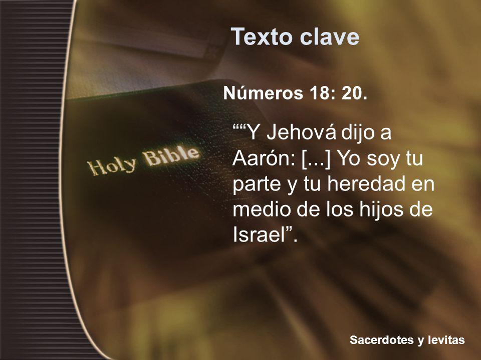 Números 18: 20. Y Jehová dijo a Aarón: [...] Yo soy tu parte y tu heredad en medio de los hijos de Israel. Texto clave