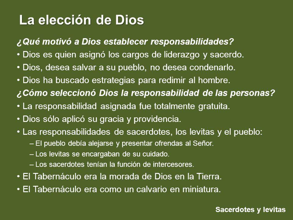 Sacerdotes y levitas La elección de Dios ¿Qué motivó a Dios establecer responsabilidades? Dios es quien asignó los cargos de liderazgo y sacerdo. Dios