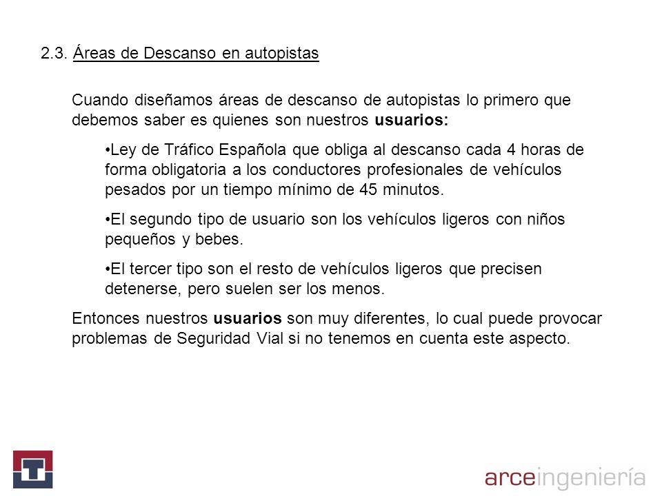 Cuando diseñamos áreas de descanso de autopistas lo primero que debemos saber es quienes son nuestros usuarios: Ley de Tráfico Española que obliga al